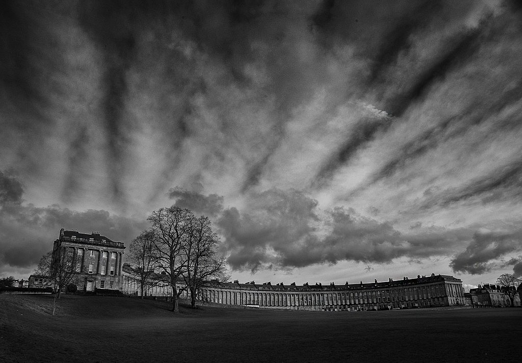 The Royal Crescent in Bath looking all moody with the winter sky today.