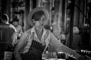 Sausage seller girl- street photography from Bath