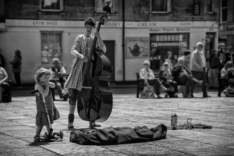 the cello player & scooter girl
