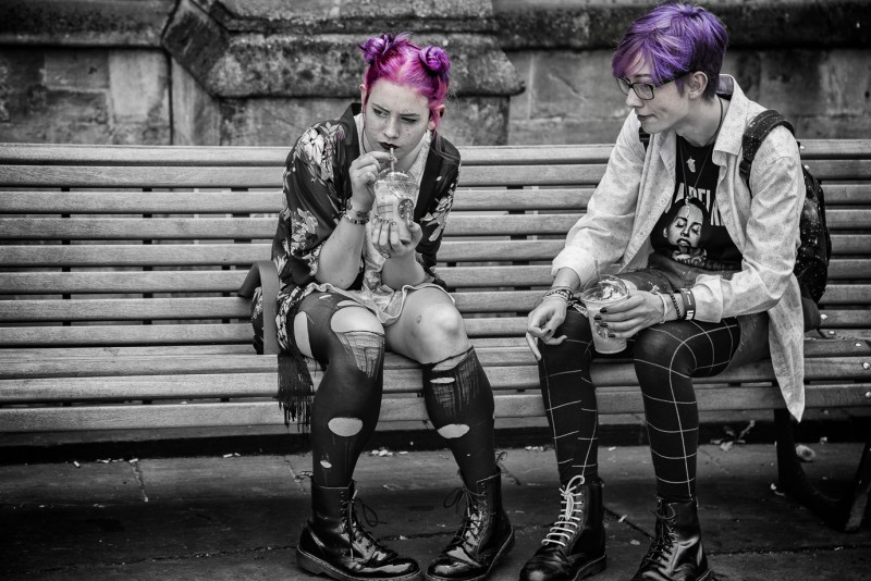pink and purple hair - street photography from Bath
