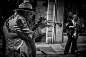 the trumpet player- street photography from Bath