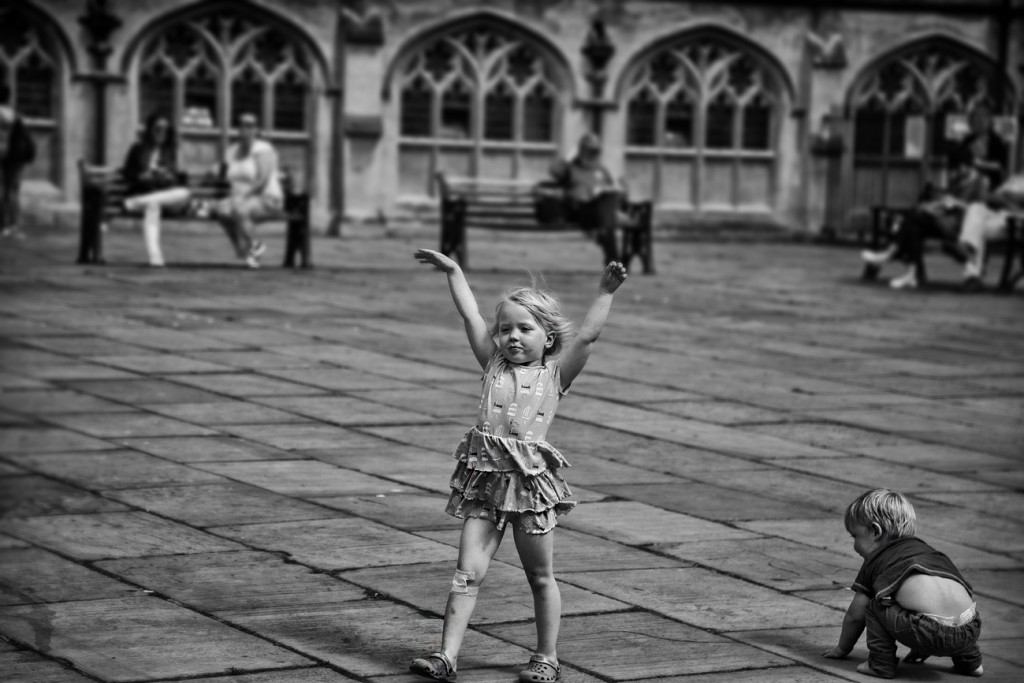 dancing girl - UK street Photography