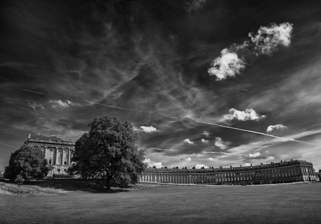 royal crescent bath and cloudy skies - UK street Photography