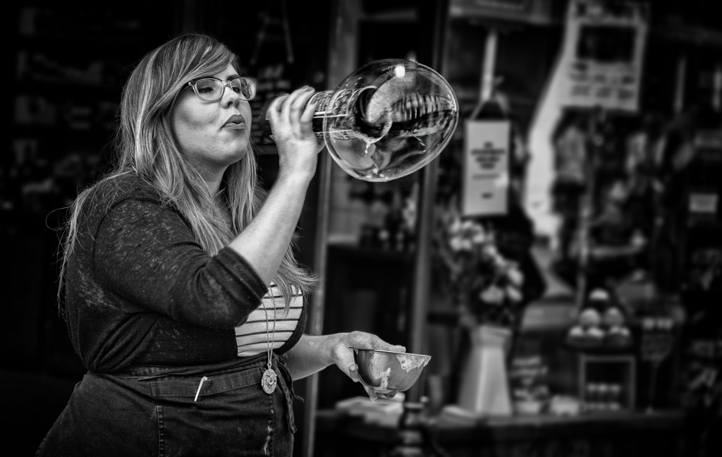 buble blowing girl - UK street Photography