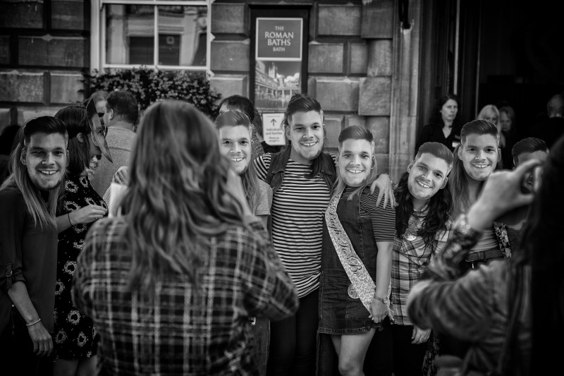 hen party masks - UK street Photography