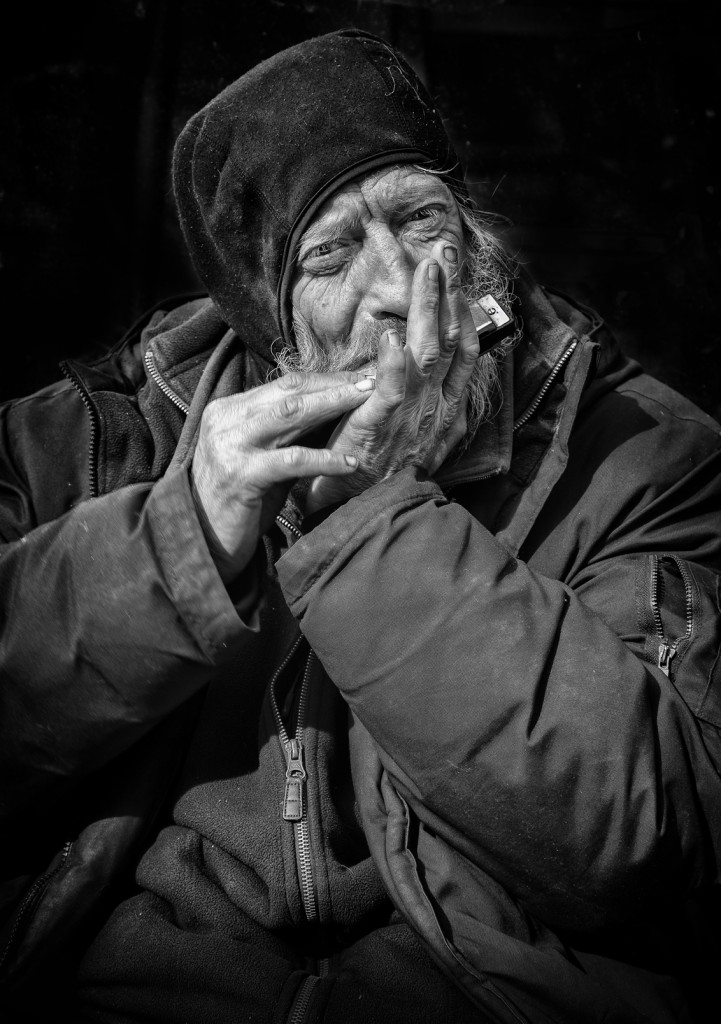 Street Portrait of Harmonica David.