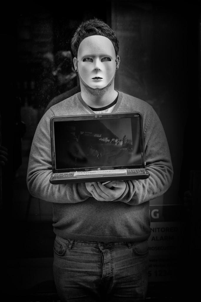 masked man - UK street Photography