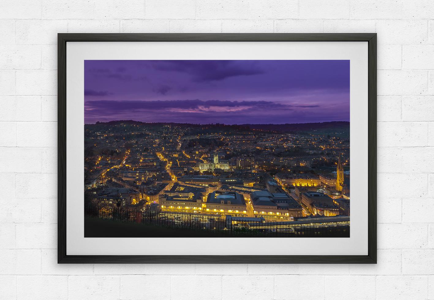 bath abbey purple skyline view