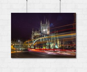 Bath Abbey rainbow trails print