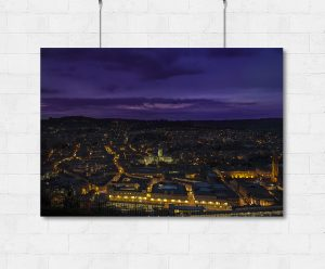 Bath Abbey purple skyline view - Print