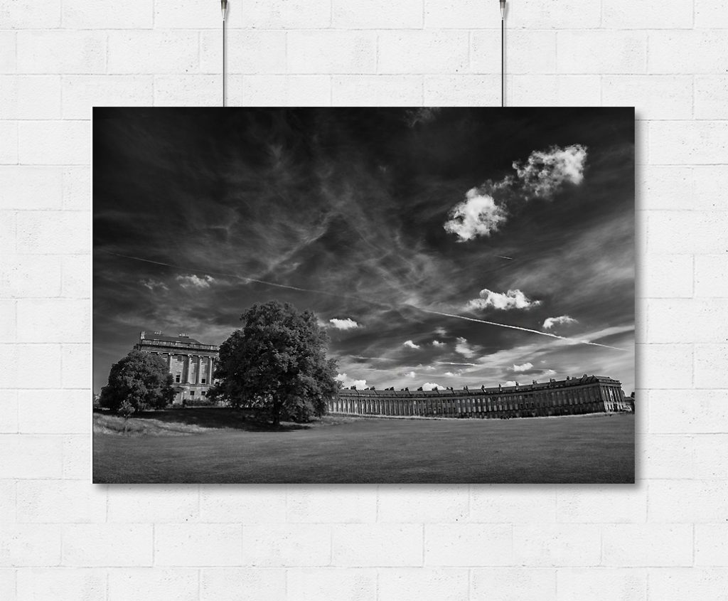 Bath Royal Crescent and summer skies-print