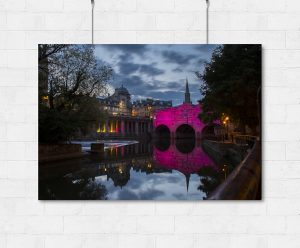 Pink Pulteney Bridge in Bath-print