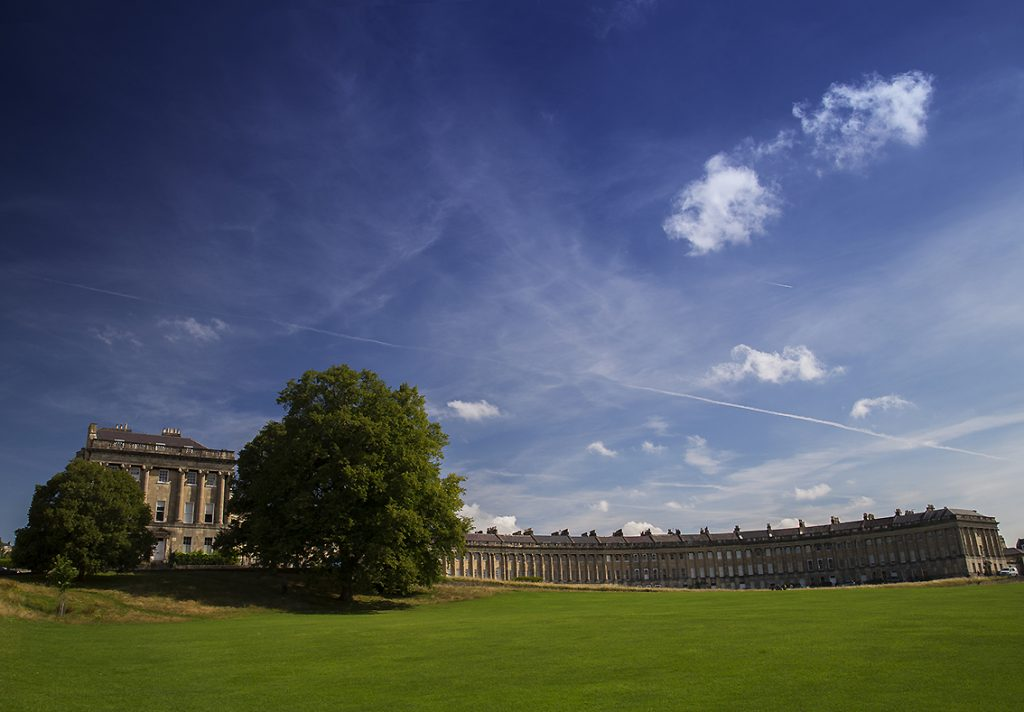 Bath's Royal Crescent and blue skies