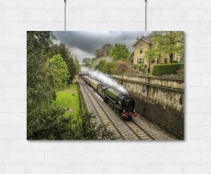 tornado steam train and pullman carriages through Bath