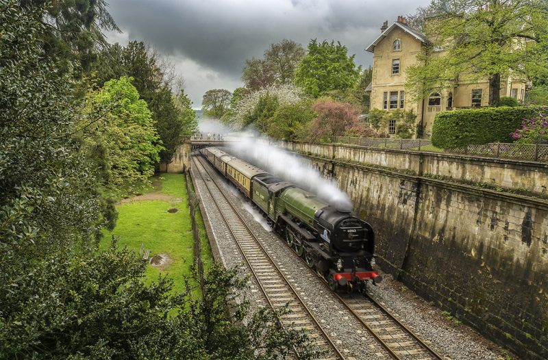tornado steam train and pullman carriages through Bath-large