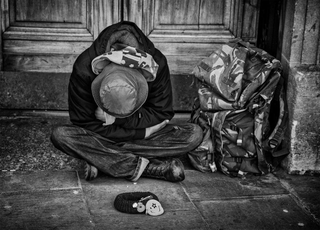 street portrait of a sleeping man