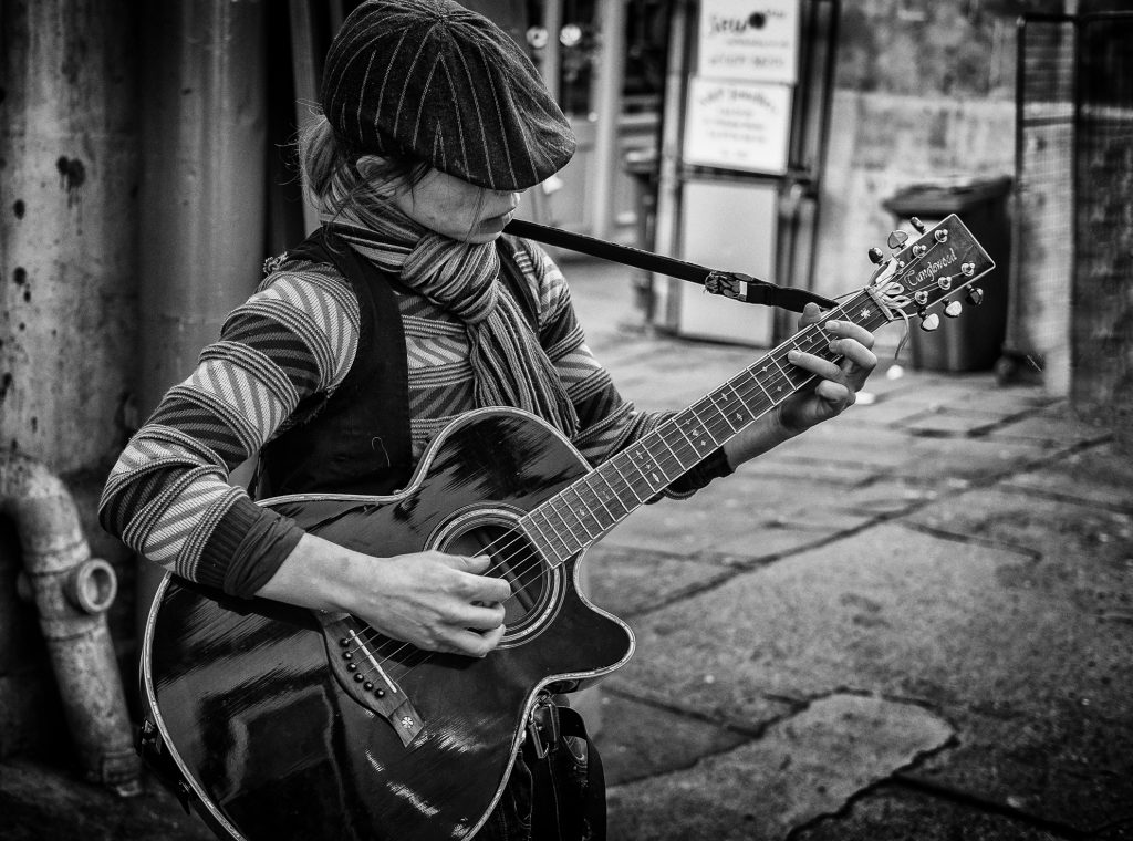 Guitar girl -bristol street photography