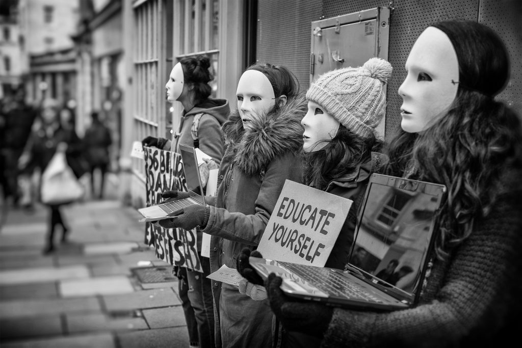 educate yourself - animal rights protest in Bath
