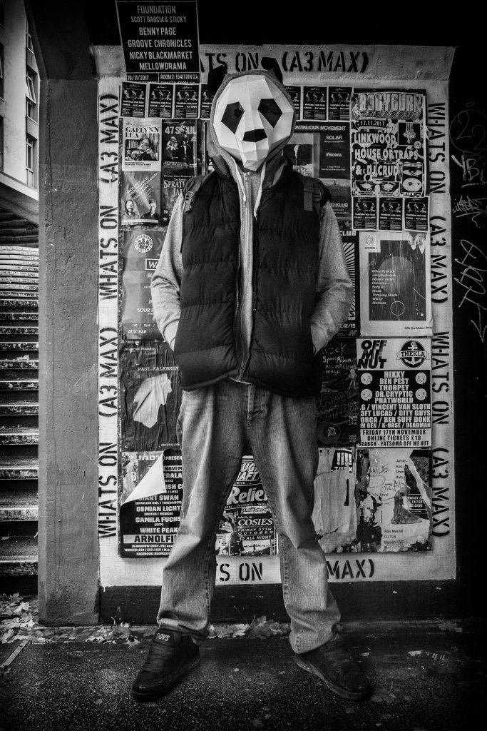 panda man street portrait